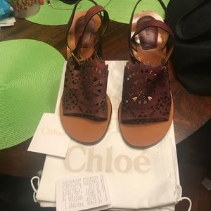 NEW Chloe Crochet Ankle Wrap Ot Sandals Sz 10